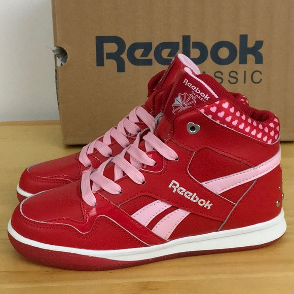 0380eb59dfd Girls Reebok heart collar red pink high tops 2